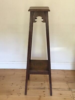 Vintage Arts & Crafts Oak 2 Tier Jardiniere