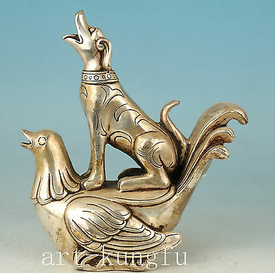 big art deco Chinese Old Copper Collect Hand Carved Dog Cock Statue Noble Gift