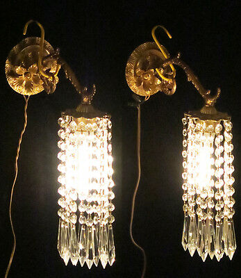 2 Vintage Sconces French lighting Brass bronze fountain waterfall Crystal lamp