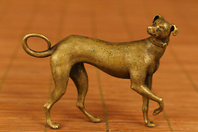Antique Rare chinese Old Bronze Hand Carved Dog Statue Netsuke