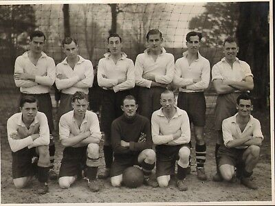 1950s 60s photograph of a football team lineup ( goal line ) ! chichester area