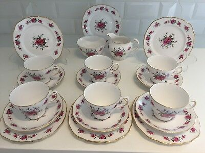 Pink Vintage Bone China Tea Set 6 Teacup Trios Royal Vale Pretty Floral 20-Piece