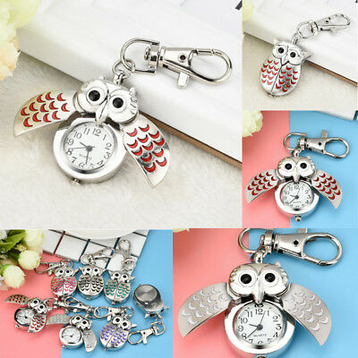 Fashion Delicate Owl Watch Clip Pocket Keychain Pendant Hanging Watches Gifts