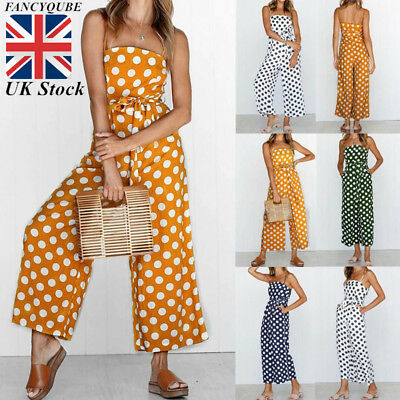 Womens Floral Playsuit Long Jumpsuit Ladies Polka Dot Wide Leg Trousers Culottes