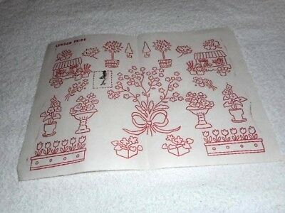 Vintage Embroidery Iron on Transfer- London Pride -  Flowers / Trees