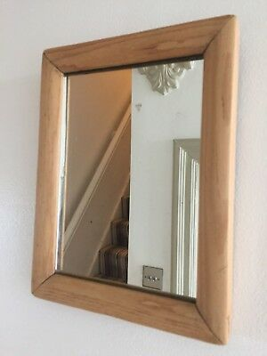 Small Old Vintage Light Pine Mirror with Original Glass and Back 1940s 23x18cm