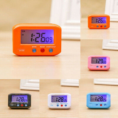 Mini Digital LCD Display Snooze Alarm Clock Desk Room Car Decor W/ LED Backlight