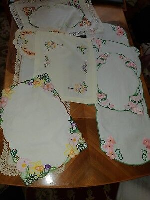 Vintage Job Lot embroidered, Runners, Tray cloths, napkins