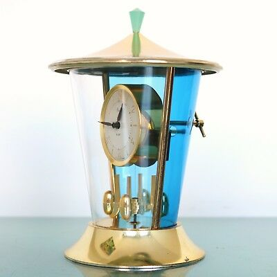 KAISER Anniversary Mantel Clock Germany Vintage Dome Pendulum 8 Day TRANSLUCENT!