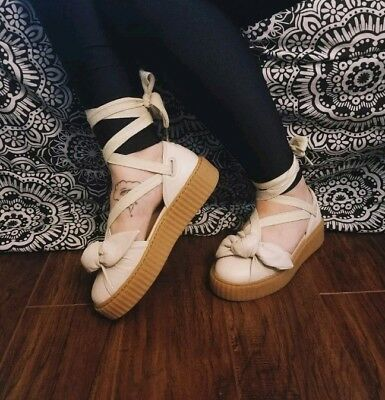 info for f62ed d9d02 PUMA X FENTY by Rihanna Bow Creeper Oatmeal Lace up Ankle Strap Sandal  Women's 7