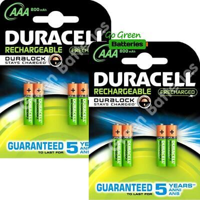 8 x Duracell AAA 800 mAh Rechargeable Duralock Batteries NiMH LR03 HR03 Phone
