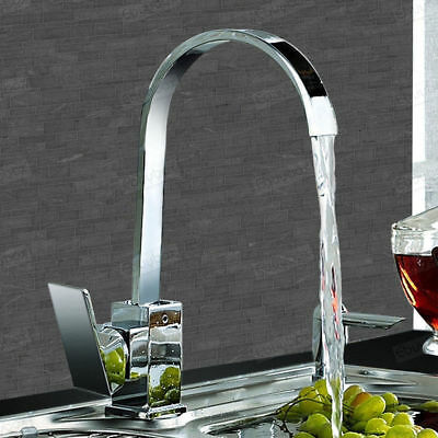Waterfall Kitchen Sink Mixer Taps Dual Lever Mono Swivel Spout Chrome Brass Tap