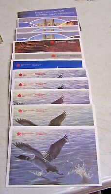 LOT of 12 Royal Canadian Mint Proof Like Coin Sets 1977 & 1982-1992 Sequence