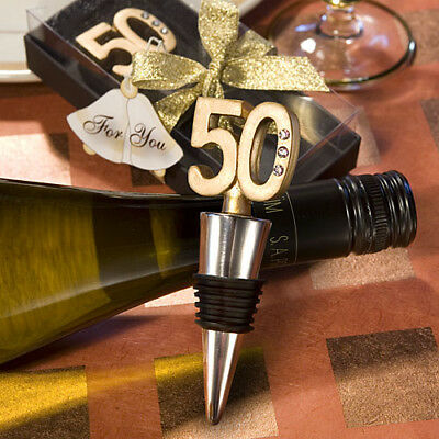 50th Anniversary/ Birthday Wine Bottle Stopper Favours Gold-Sol-1580