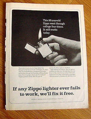 1966 ZIPPO Lighter Ad Went through College Four Times Benner Family Arlington VA