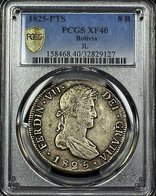 PCGS Secure XF40 Bolivia 8 Reales 8R JL Mint Truewview Original Patina and Color