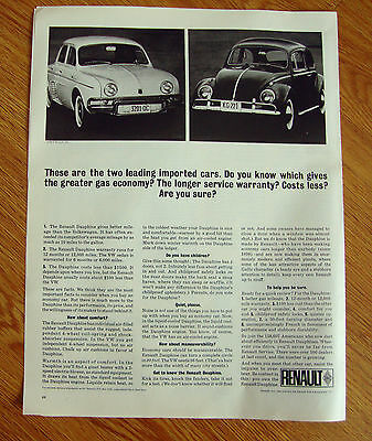 1963 Renault Dauphine Ad Two Leading Imported Cars   Renault vs VW Volkswagen