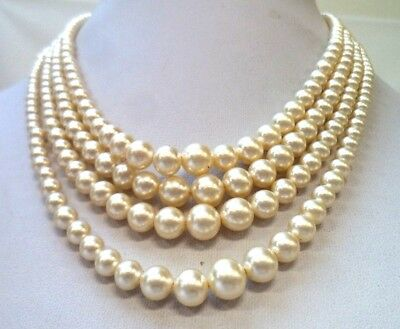 "Stunning Vintage Estate Glass Faux Pearl Rhinestone 18"" Necklace!!! 1203G"