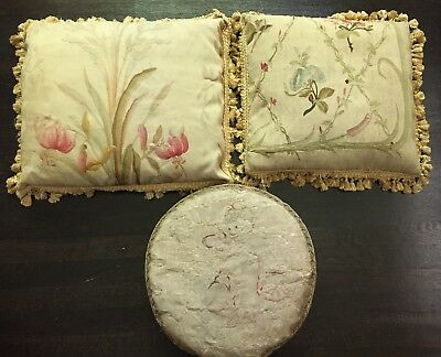 Antique 3 French Aubusson Pillows Angel Flowers Fringe Hand Made Shabby Chic !