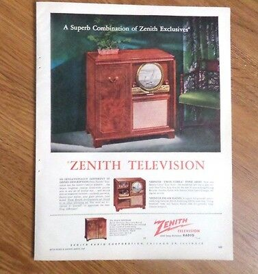 1949 Zenith Stereo Record Phonograph Radio Ad Superb Combination