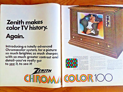 1970 Zenith TV Television Ad Chromacolor in a Compact Size Ice Skating Theme