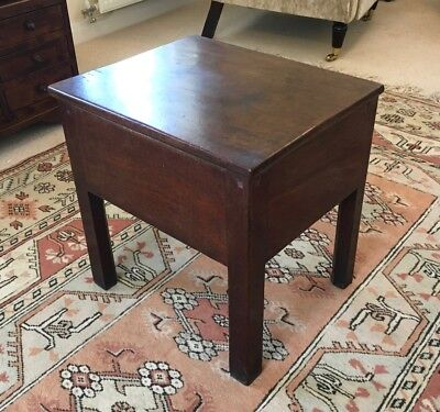 Antique Victorian Hardwood Box Commode with Lid, used as a Side Table