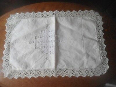A Gorgeous True Vintage  Linen With Drawn Thread And Lace Baby Pillowcase
