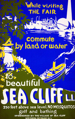 16x24 Beautiful Sea Cliff Long Island 1930s WPA Vintage Style Travel Poster