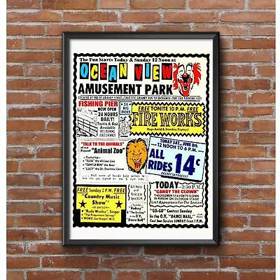 Ocean View Amusement Park Poster - Norfolk Virginia Roller Coaster
