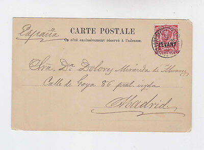 br,levant 1903 pictorial p.card with one stamp constantiople to spain   n294