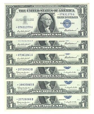 TEN 1957 U.S. $1 SILVER CERTIFICATES - STAR NOTES - SOME CONSECUTIVE #'s - UNC.