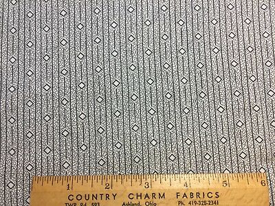 """Antique Cotton Fabric Early 1900s Black & White Shirting Print 36""""w 1/2yd"""