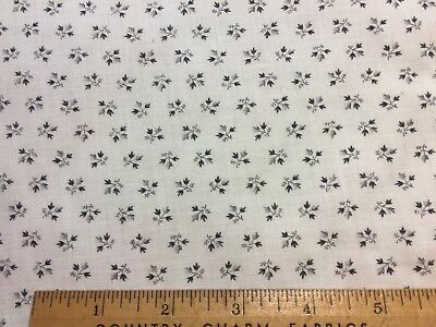 """Antique Cotton Fabric Early 1900s Black & White Shirting Print 25""""w 1/2yd"""