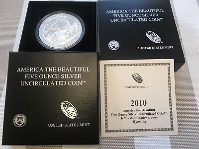 2010 Yellowstone (Wyoming) America the Beautiful 5oz. Silver Coin U.S. Mint