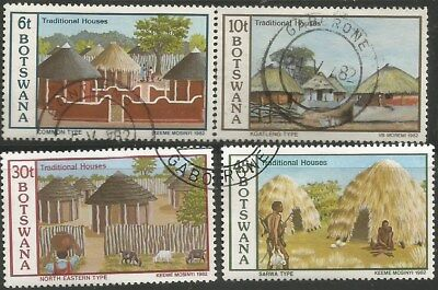 BOTSWANA 1982  TRADITIONAL HOUSES Sc#299-302 COMPLETE USED SET 2434