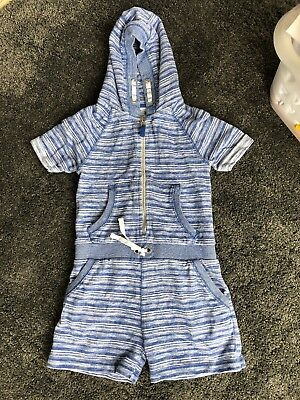 Next Hooded Romper Playsuit Girls Blue And White Stripe Age 8