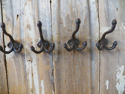 Lot 4 Antique-Style TRIPLE Rustic School COAT HOOK Cast Iron Wall Mount Hardware