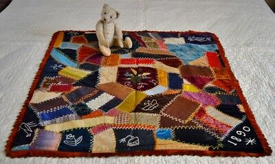 Antique Hand Stitched Crazy Work Crib Quilt Dated 1890 *
