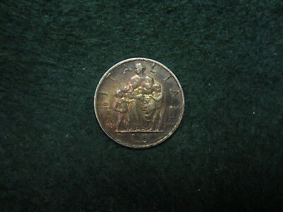 Italy Vittorio Emanuele III Mother & 3 Children 5 Lire 1936 Silver Coin Beautifu
