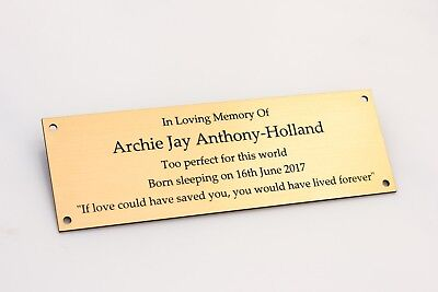 Engraved Brass Effect Memorial Bench Plaques Weatherproof & In Various Sizes