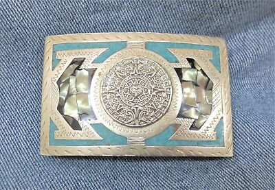Vintage Sterling 925 Aztec Sun Calendar Inlaid Mexico Belt Buckle Free S/H