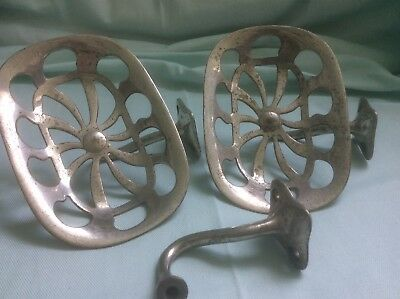 PAIR of 2 Antique Art Brass Co NY Nickle Plated Bathroom Wall Mount Soap Dish