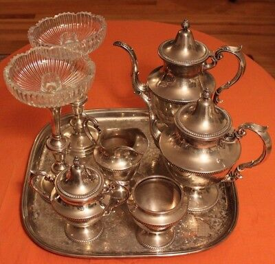 ANTIQUE Fisher Sterling Silver Tea Coffee Set Gadroon 2490 Grams Vintage Extras