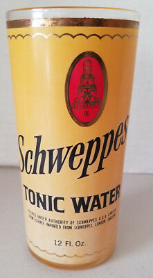Vintage Schweppes Tonic Water Highball Glass Barware Advertising Bar Decor