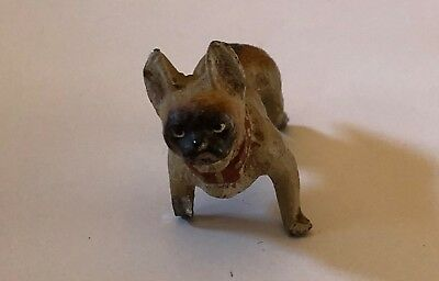 Lead Painted Dog Figurine French Bulldog Germany Vintage Antique