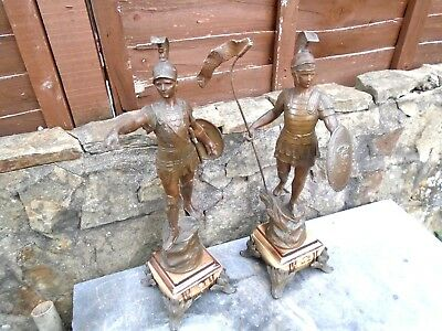 Antique Pair Of Quite Large Spelter Figures Of Roman Soldiers