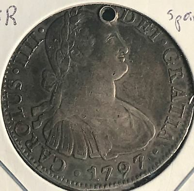 Rare Find! 1797 Spain Carolus IIII 8 Reales Silver Colonial Coin-Holed