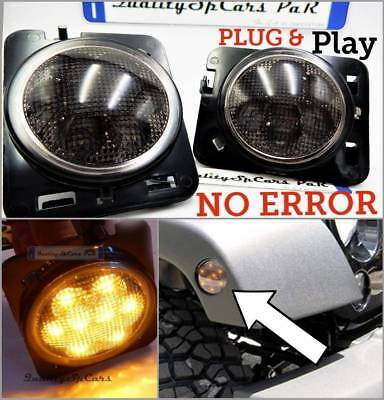 FRECCE LATERALI LED JEEP WRANGLER JK accessori NERO turn lights luci fari tuning