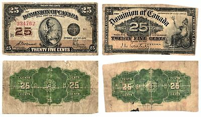 2 Vintage 1900 1923 25 Cent Fractional Currency of the Dominion of Canada CIRC