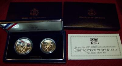 1994 S Proof World Cup Usa Silver Dollar And  Half Dollar Commemorative Coins $1